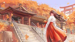 Превью обои девушка, кимоно, пагода, осень, аниме, арт