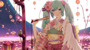 Превью обои девушка, кимоно, веер, улыбка, луна