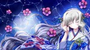 Превью обои девушка, кимоно, ветер, волосы