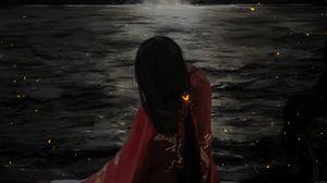 Превью обои девушка, кимоно, водопад, вода, арт, темный