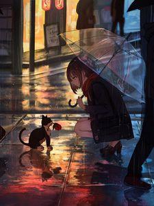 Превью обои девушка, котенок, цветок, аниме, улица, дождь