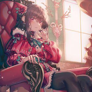 Превью обои девушка, кресло, винтаж, аниме, арт