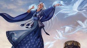 Превью обои девушка, магия, птицы, колдовство