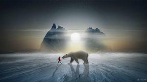 Превью обои девушка, медведь, снег, горы, полярный, друг, фотошоп