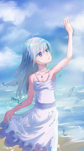 Превью обои девушка, море, пляж, капли, аниме, арт