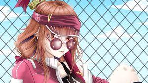 Превью обои девушка, очки, стиль, граффити, аниме