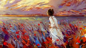 Превью обои девушка, поле, цветы, арт, яркий, трава