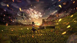 Превью обои девушка, рояль, поле, цветы, аниме, арт