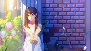 Превью обои девушка, грусть, сад, аниме, арт