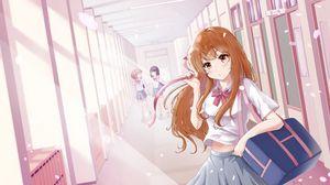 Превью обои девушка, школьница, школа, лепестки, аниме, арт, розовый