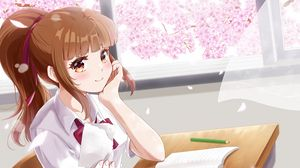 Превью обои девушка, школьница, записка, аниме, арт