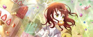 Превью обои девушка, сладости, зонтик, аниме, арт