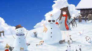 Превью обои девушка, снеговик, коты, снег, зима, аниме