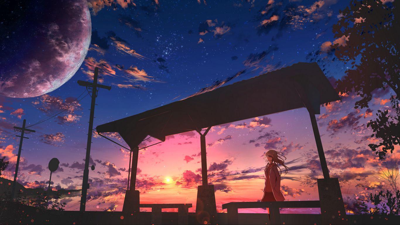 1366x768 Обои девушка, сумерки, облака, аниме