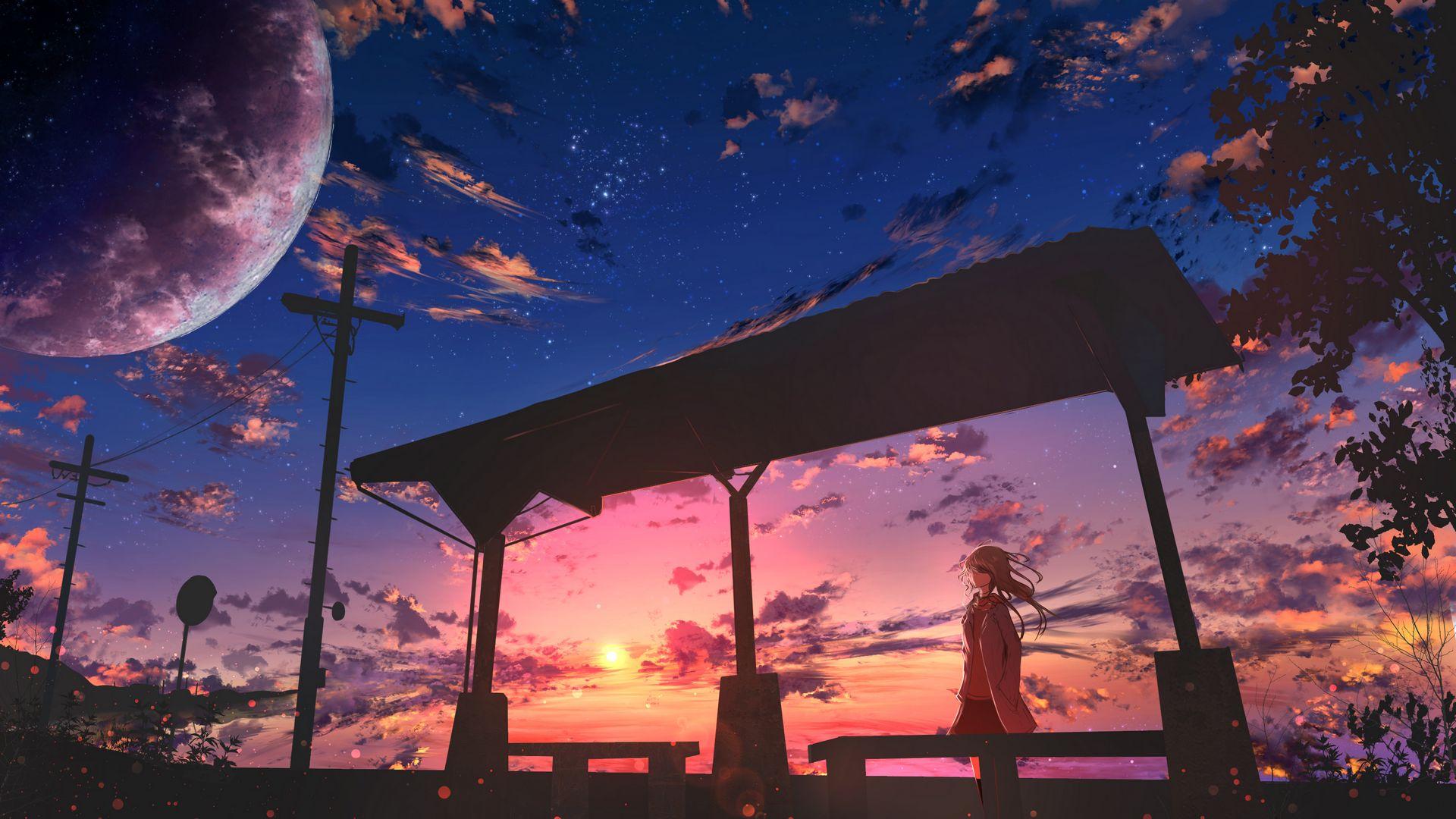 1920x1080 Обои девушка, сумерки, облака, аниме