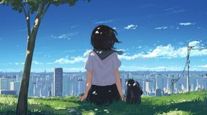 Превью обои девушка, трава, город, аниме, арт