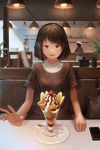 Превью обои девушка, улыбка, десерт, свидание, аниме, арт