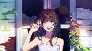 Превью обои девушка, улыбка, окно, разбитый, аниме