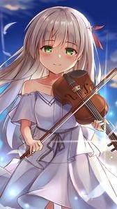 Превью обои девушка, улыбка, скрипка, аниме, арт