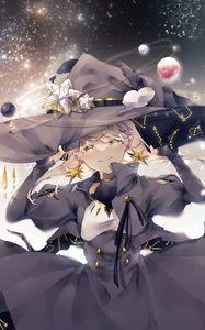 Превью обои девушка, ведьма, шляпа, космос, магия, аниме