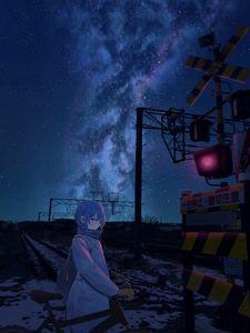 Превью обои девушка, велосипед, ночь, звезды, рельсы, железная дорога