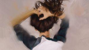 Превью обои девушка, волосы, руки, арт