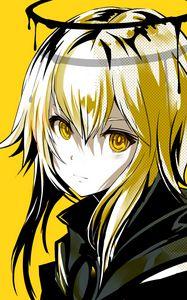Превью обои девушка, взгляд, нимб, аниме, арт, желтый