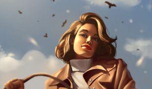 Превью обои девушка, взгляд, пальто, птицы, арт