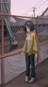 Превью обои девушка, забор, сетка, аниме, арт