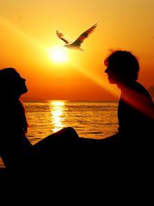 Превью обои девушка, закат, лето, луч, любовь, море, мужчина, птица, свобода, силуэт, солнце, чайка