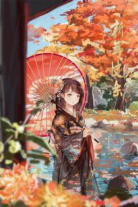 Превью обои девушка, зонтик, аниме, кимоно, сад, осень
