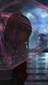 Превью обои девушка, зонт, аниме, дождь, улица, ночь
