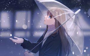 Превью обои девушка, зонтик, дождь, аниме, арт