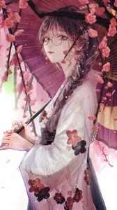 Превью обои девушка, зонтик, сакура, кимоно, очки, аниме