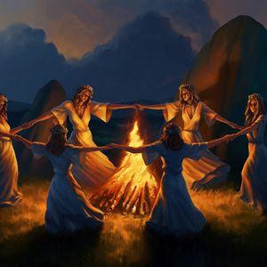 Превью обои девушки, хоровод, костер, огонь, арт