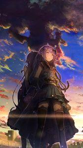 Превью обои девушки, касание, небо, облака, закат, аниме