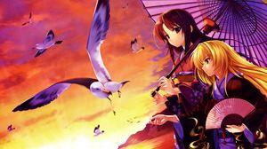 Превью обои девушки, кимоно, зонт, чайка