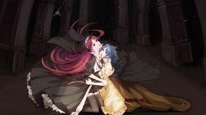 Превью обои девушки, кровь, укус, вампир