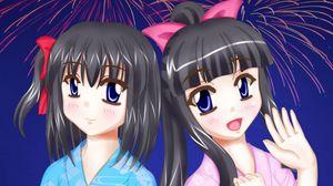 Превью обои девушки, подруги, кимоно, аниме