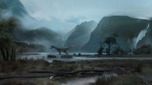 Превью обои динозавр, горы, арт