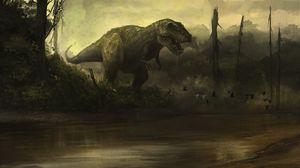 Превью обои динозавр, клыки, агрессия