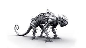 Превью обои динозавр, металл, форма, серый, игрушка