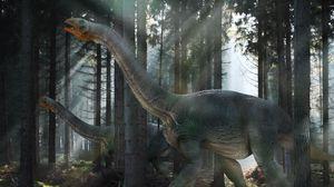 Превью обои динозавр, мезозойская эра, прогулка, лес