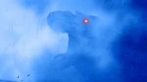 Превью обои динозавр, монстр, силуэт, арт, туман, молнии