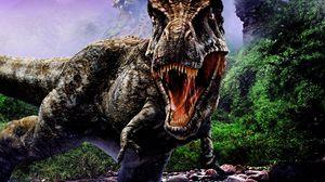 Превью обои динозавр, пасть, агрессия, камни, деревья