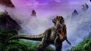 Превью обои динозавр, пасть, клыки, туман