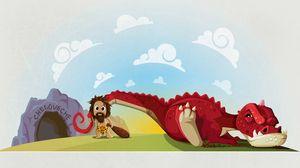 Превью обои динозавр, первобытный, пещера, мезозойская эра