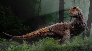 Превью обои динозавр, трава, деревья, пресмыкающиеся, мезозойская эра