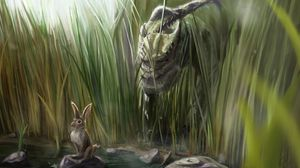 Превью обои динозавр, заяц, трава, арт, камни