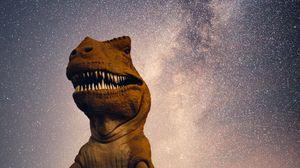 Превью обои динозавр, звездное небо, ночь, космос
